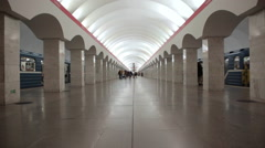 Passengers walk in a metro subway station in Saint Petersburg Russia Stock Footage