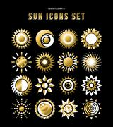 Gold set of sun design icons in modern style Stock Illustration
