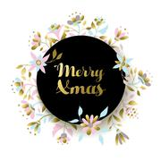 Gold christmas flower decoration for greeting card Stock Illustration