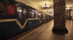 Metro train arriving to a beautiful subway platform station in Saint Petersburg  Stock Footage