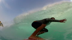 POV of a surfer getting tubed in Indonesia. Arkistovideo
