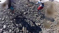 POV of a mountain biker on a singletrack trail. Stock Footage