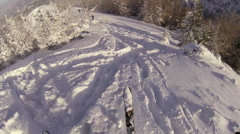 Group of men cross-country skiing on a mountain. Stock Footage