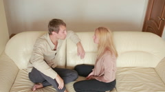 Male and female fighting. family quarrel. domestic violence. evil men shout Arkistovideo
