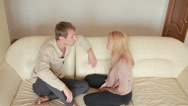 Male and female fighting. family quarrel. domestic violence. evil men shout Stock Footage