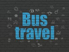 Tourism concept: Bus Travel on wall background Stock Illustration