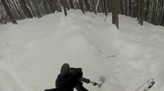 Downhill skiing amongst the trees on a snow covered mountain. Stock Footage