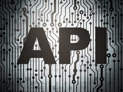Programming concept: circuit board with Api Stock Illustration