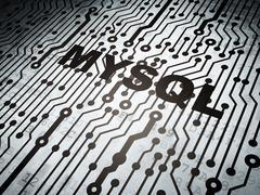 Database concept: circuit board with MySQL Stock Illustration