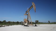 Oil Derrick in Hagerman National Wildlife Refuge on Lake Texhoma. Stock Footage