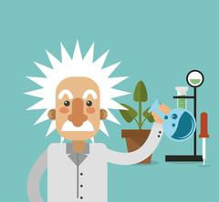 Albert einstein with science related icons image Stock Illustration