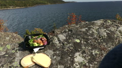 Lunch with a view of the Swedish archipelago Stock Footage