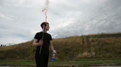 The fire eater, spitting fire Stock Footage