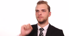 Attractive Businessman Looking Interview Hand Gestures Ok Sign Company Workplace Stock Footage