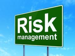 Finance concept: Risk Management on road sign background Stock Illustration