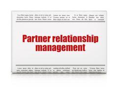 Finance concept: newspaper headline Partner Relationship Management Stock Illustration