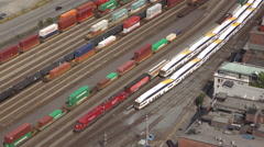 Vancouver CPR Railway Train Siding Yard With Shipping Containers Parked Stock Footage