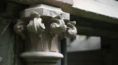 Detail of ancient family crypt in graveyard Stock Footage