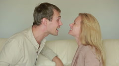 Male and female fighting. family quarrel. domestic violence. kissing couple Stock Footage