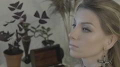 Makeup artist applies eye shadow. Beautiful woman face. Perfect makeup Stock Footage