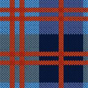 Knitting seamless pattern in blue and red hues Stock Illustration
