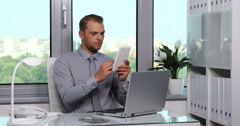 Optimistic Corporate Businessperson Using Digital Tablet Connect Partner Office Stock Footage
