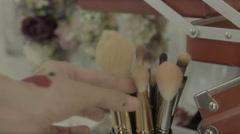 Make up brushes, makeup Stock Footage