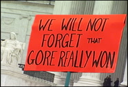 Gore Really Won protest sign, Supreme Court, Dec. 2000 Stock Footage