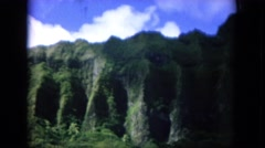 1964: a mountain scenery is seen with lush greenery HAWAII Stock Footage