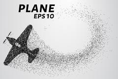 The plane of the particles. The aircraft consists of small circles. Vector Stock Illustration