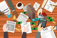 People Working on Financial Planning Stock Illustration