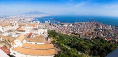 Panoramic view of Naples city, Italy Stock Photos
