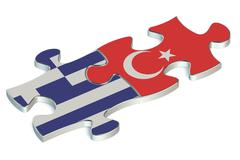 Turkey and Greece puzzles from flags Stock Illustration