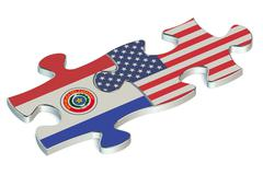 USA and Paraguay puzzles from flags Stock Illustration