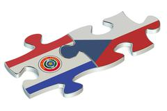 Czech Republic and Paraguay puzzles from flags Stock Illustration