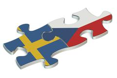 Czech Republic and Sweden puzzles from flags Stock Illustration