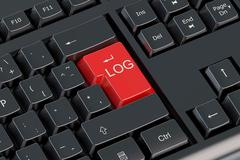 Log red key on  the keyboard Stock Illustration