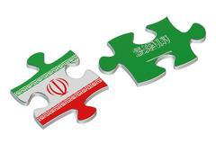 Saudi Arabia and Iran conflict concept Stock Illustration