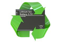 Battery or accumulator for phone with recycle symbol Stock Illustration