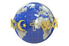Globe with religions symbols Stock Illustration