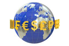 Globe with currency symbols Stock Illustration