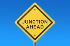 Junction ahead road sign Stock Illustration