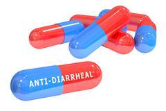 Anti-diarrheal pills 3D rendering Stock Illustration