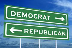 Democrat or republican concept on the road signpost, 3D rendering Stock Illustration