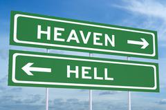 Heaven or Hell concept on the road signpost, 3D rendering Stock Illustration