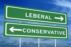 Leberal or conservative concept on the road signpost, 3D rendering Stock Illustration