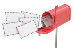 Mailbox with envelopes, 3D rendering Stock Illustration