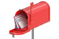 Red mailbox with letters Stock Illustration