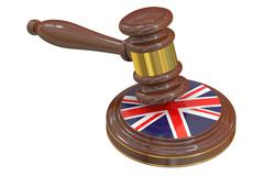 Wooden Gavel with United Kingdom Flag, 3D rendering Piirros