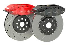 Car discs brake and caliper. 3D rendering Piirros